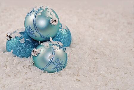 nice christmas bulbs off set in snow, room for text