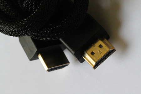 uncompressed: closeup HDMI High-Definition Multimedia Interface which is a proprietary audiovideo interface for transferring uncompressed video data and compressed or uncompressed digital audio data
