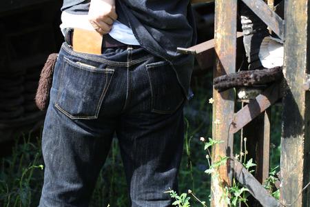 unworn: folded mens denim jeans