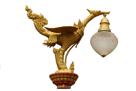 Golden art mystery bird, Lantern hanger designed swan statue isolated in white background, Traditional ancient unique style lighting lamp of Thailand, Home decoration mythology style