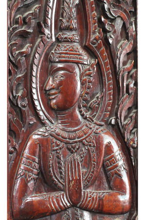 close-up wooden brown male Thai angel statue filled isolated with white backgrounds, wooden crafting product painted with dark brown colors, guardian traditional souvenir