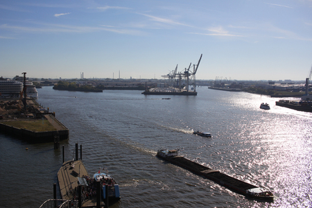 Export and import business and logistic, Giant trading port of Hamburg, Germany, Water transport International backgrounds, Container and shipment on the deep ocean bay