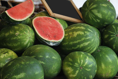 Group of freshness green melon from organic farm selling at retail opened market, homemade garden tree in the field backgrounds
