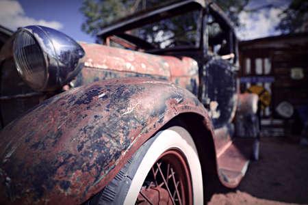 abandoned car: Vintage Car, Hackberry Arizona Stock Photo
