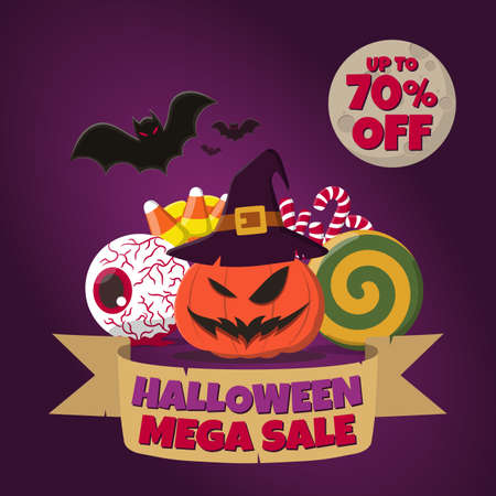 "Halloween Mega Sale banner with carved pumpkin, witch hat, bloodshot eyeball, lollipop, candy corns, candy canes, bats, and the moon with ""up to 70 percent"" text on dark purple background."