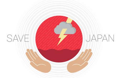 Una bandera de Japón con lluvia, inundaciones, nubes de tormenta, truenos y dos manos apoyando el sol rojo. Las ondas de color gris claro representan la tormenta. Creado a la luz del súper tifón Hagibis avanzando hacia Japón.