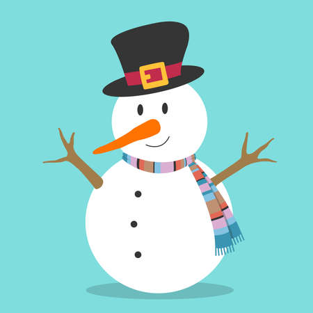 Decorative Christmas snowman with black hat, colorful striped scarf, twig arms, carrot nose, on light blue background. Stylish, minimal flat vector cartoon design element for modern and casual setup.
