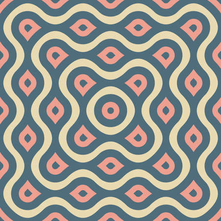 Entangled lines and dots forming middle eyes seamless vector geometry pattern in modern, stylish, minimal fashion. Abstract tiles repeat endlessly to create perfect pattern, wallpaper, or background.
