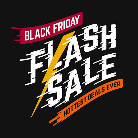 Black Friday Flash Sale Hottest Deals Ever vector banner with warped sans-serif font on speedy text effect and black background.  イラスト・ベクター素材