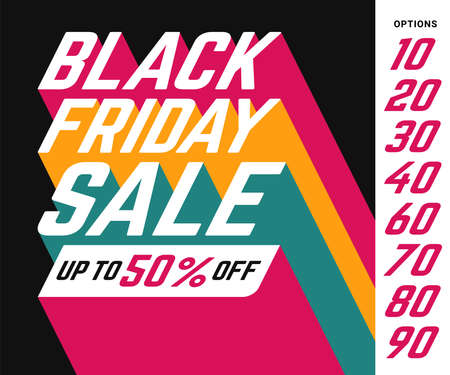 Black Friday Sale Up to 50% off vector banner sign with perspective sans-serif font and long colorful trail shadows on black background. Discount options from 10 to 90 percent available.