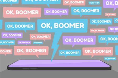 Vector illustration of smartphone and multiple OK Boomer chat bubbles represents social media conflict between baby boomers and younger generation Z and millennials, ignited by popular meme.