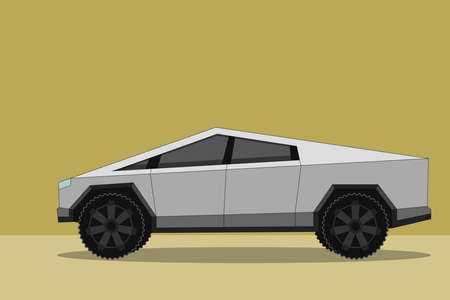 Flat vector illustration of polygon shape strange futuristic looking battery-powered off-road truck similar to electric cyber truck.