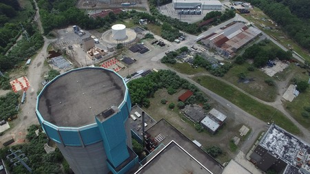 Aerial View of an Abandoned Nuclear Power Plant as Seen by a Drone on a Summer Day Stockfoto