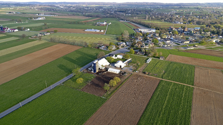 Aerial View of Amish Farm Lands and Countryside on a Sunny Day