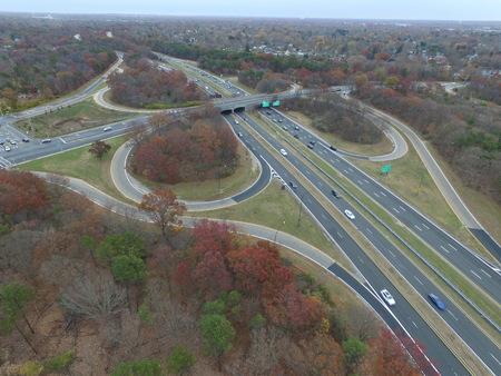 Aerial View of Long Island New York Traffic