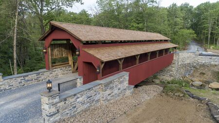 Rebuilt Pennsylvania Dutch Covered Kissing Bridge