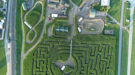 Downward view from a drone of a large corn maze in Pennsylvania Stock Photo