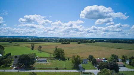 Aerial view of Amish countryside on a sunny summer day