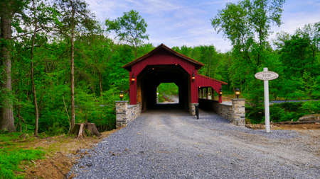 Close Up View of a Restored Old 1844 Covered Bridge on a Sunny Spring Day