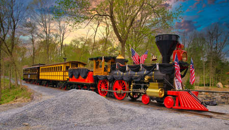 Replica of an Old 1860s Steam Engine Getting Ready on an Early Spring Day