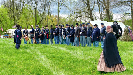 Elizabethtown, Pennsylvania, April 2019 - Soldiers Lined up for a Civil War Re-enactment on a Early Spring Day Editorial