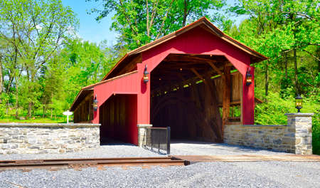 Close Up View of a Restored Old 1844 Covered Bridge on a Sunny Day