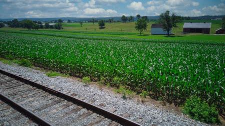 Steam Passenger Train Traveling Thru Countryside from Train Passenger View