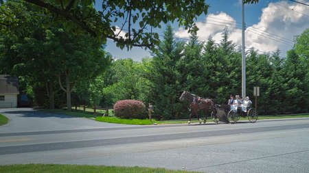 Gordonville, Pennsylvania, June 2020 - An Amish Open Wagon Carrying Two Amish Couple from Church on a Summer Day 에디토리얼