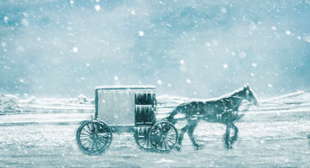 Amish Horse and Buggy Traveling on a Residential Road in the Middle of a Snow Storm 스톡 콘텐츠