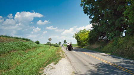 An Amish Couple in a Open Horse and Buggy on a Sunny Day