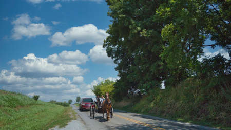 Ronks, Pennsylvania, July 2020 - An Amish Couple in a Open Horse and Buggy on a Sunny Day 에디토리얼