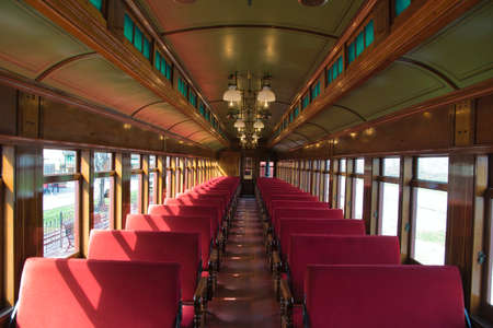 View of the Interior of a 1910s Passenger Coach Totally Restored