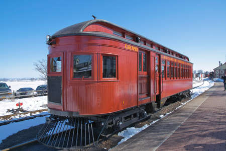 Strasburg, Pennsylvania, March 2018 - View of a 1910 Rail Car Totally Restored and Operational 에디토리얼