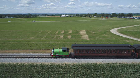 Ronks, Pennsylvania, June 2019 - Aerial View of Percy the Tank Engine Puffing and Steaming along the Countryside