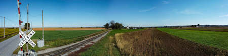 Panorama of Farm Countryside With one Lonely Rail Road Track Running Thru it