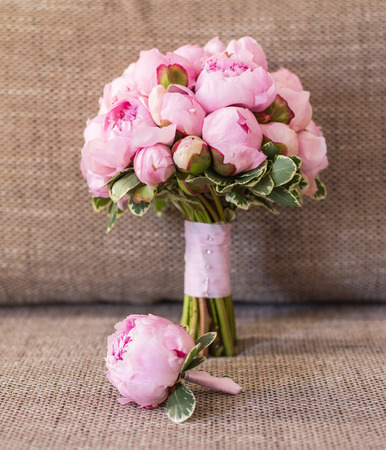 wedding bouquet of pink peonies photo