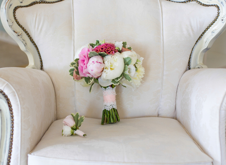 wedding bouquet of pink and white peonies photo