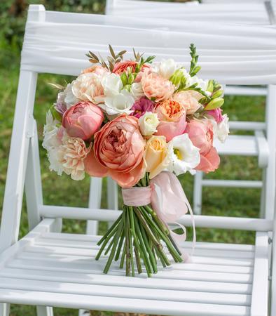 Bridal bouquet white, pink, orange.