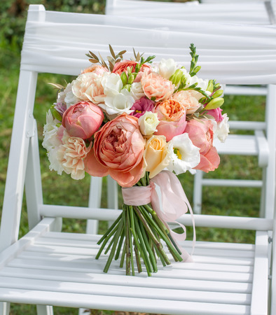 Bridal bouquet white, pink, orange.