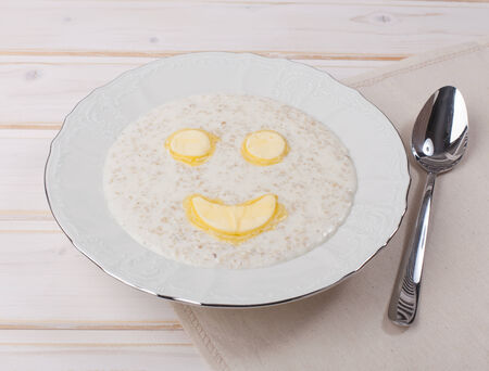 buttery: smiling oatmeal with buttery smile
