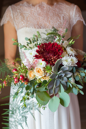 bridal bouquet disheveled shape with succulent