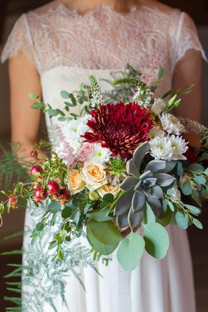 disheveled: bridal bouquet disheveled shape with succulent