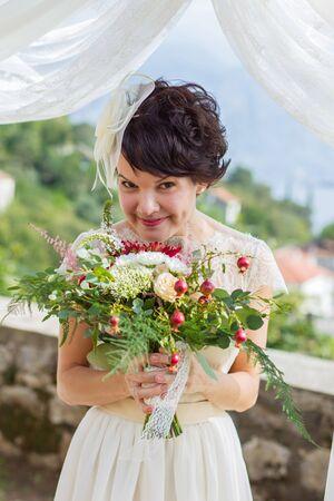 artful: Portrait of a bride which has artful facial expression