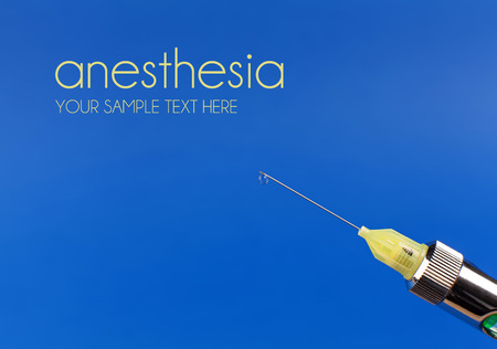 anesthetic: A drop of anesthetic on the tip of the syringe needle