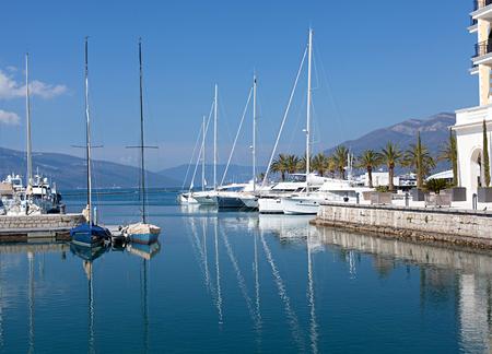 yachts in the marina Porto Montenegro in Montenegro photo