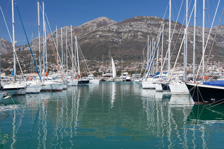 dinghies: Yachts in marina, Town of Bar, Montenegro, Adriatic Sea