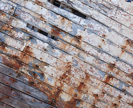 spall: Old painted shabby wooden planks Stock Photo