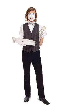 mimo: Mime Artist cajas de pizza la celebraci�n de entrega de pizza juego