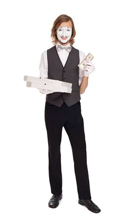 mime: Mime Artist holding pizza boxes play pizza delivery Stock Photo