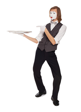 mime actor holding a empty dish